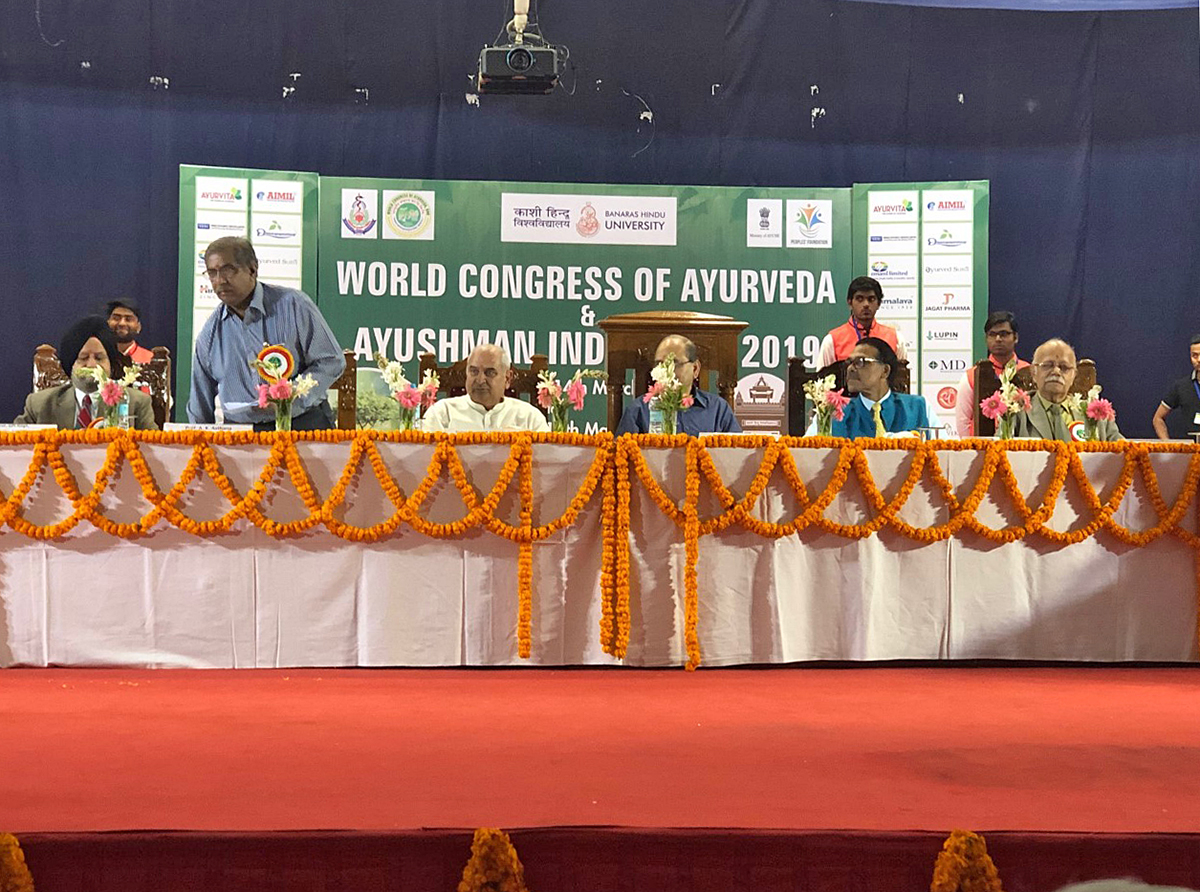 The stage of World Congress of Ayurveda & Ayushman India Expo